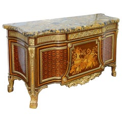 French Ormolu Mounted Mahogany Parquetry Commode, After Riesener