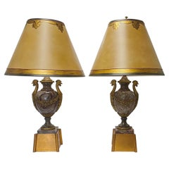 French Ormolu Mounted Marble Lamps with Rooster Handles,19th Century