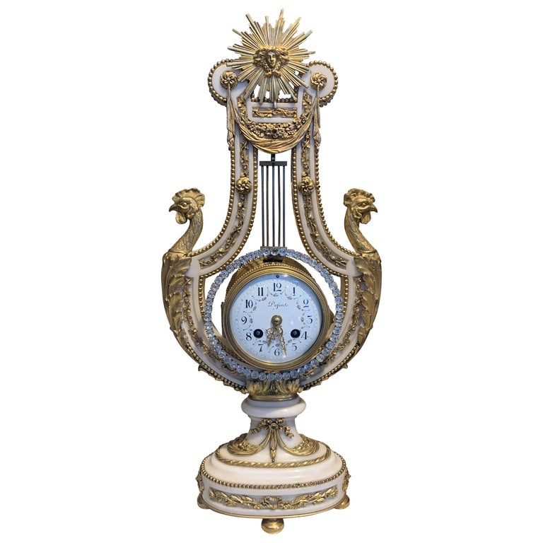 French Ormolu Mounted Marble Lyre Clock, Mid-19th Century For Sale