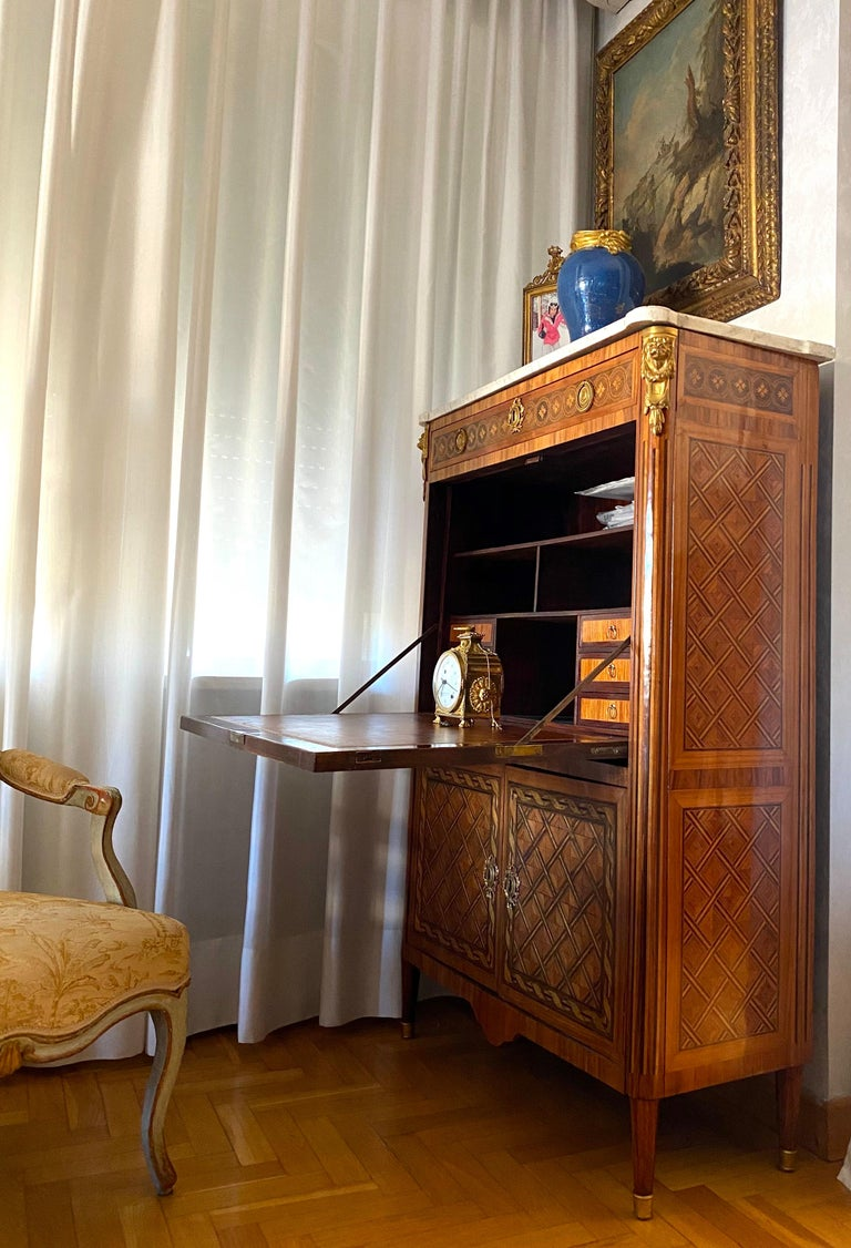 French Ormolu-Mounted Marqueterie Secretaire Abattant, Cabinet, 1775 For Sale 7