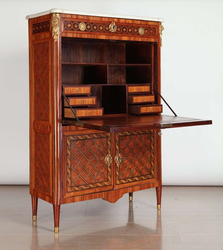 Louis XVI French Ormolu-Mounted Marqueterie Secretaire Abattant, Cabinet, 1775 For Sale