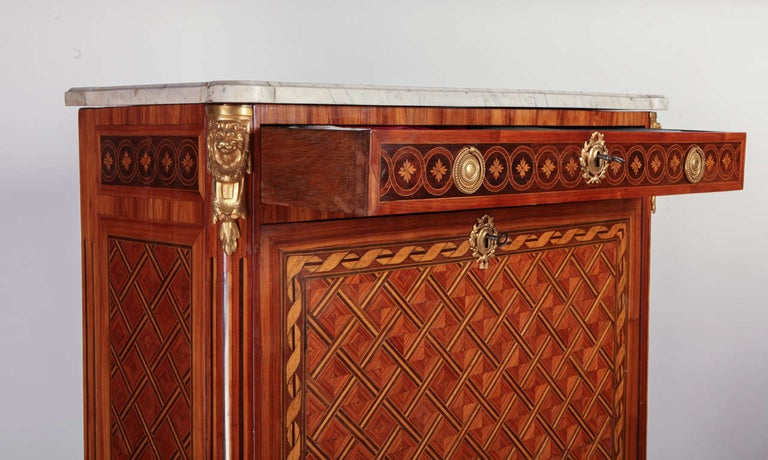 18th Century and Earlier French Ormolu-Mounted Marqueterie Secretaire Abattant, Cabinet, 1775 For Sale