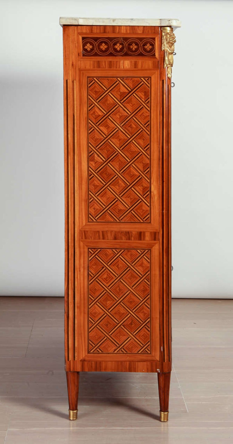 Wood French Ormolu-Mounted Marqueterie Secretaire Abattant, Cabinet, 1775 For Sale