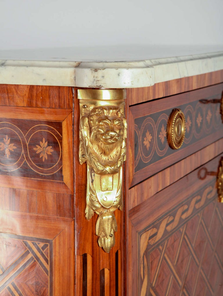 French Ormolu-Mounted Marqueterie Secretaire Abattant, Cabinet, 1775 For Sale 1
