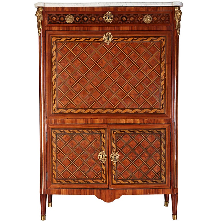 French Ormolu-Mounted Marqueterie Secretaire Abattant, Cabinet, 1775 For Sale 2