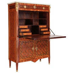 French Ormolu-Mounted Marqueterie Secretaire Abattant, Cabinet, 1775