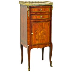 French Ormolu Mounted Parquetry Petite Marble Top Cabinet Commode, 19th Century