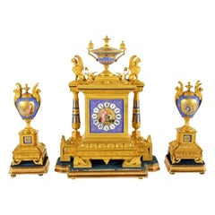 French Ormolu & Porcelain Clock Garniture, 19th Century