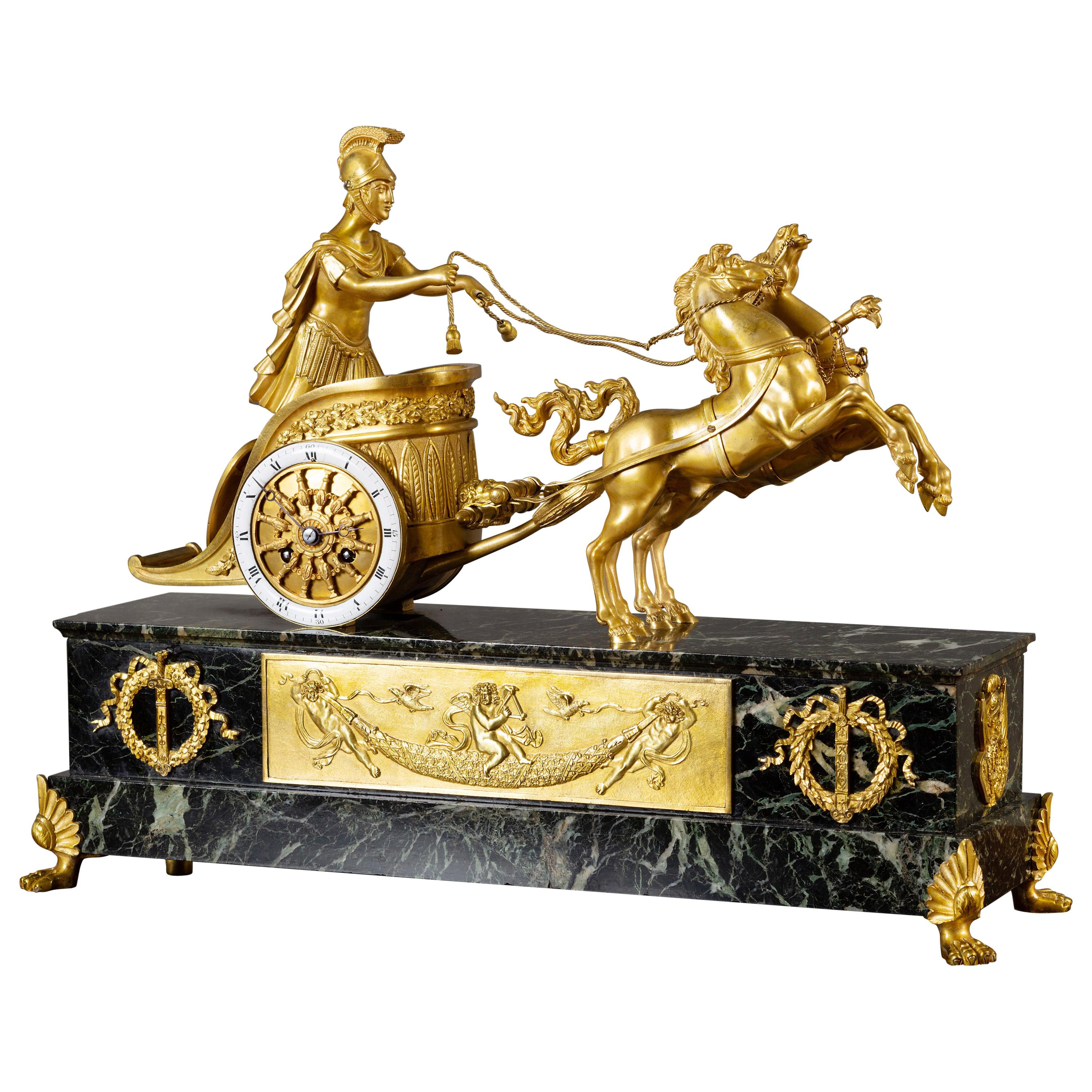 French Ormolu Roman Chariot Clock by Vincenti