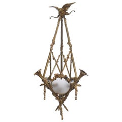 French Ormolu Three Light Eagle Chandelier, 19th Century