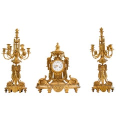 French Ormolu Three-Piece Clock Garniture by Ferdinand Barbedienne