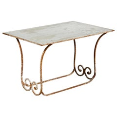 French Ornate Wrought Iron Garden Table with Mirrored Top
