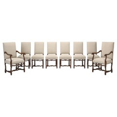 French Os De Mouton Dining Chairs, Set of 8, Irish Linen, Completely Restored