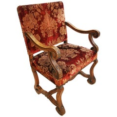 French Out Throne Armchair Antique, Louis XIII Style with Original Silk Velvet