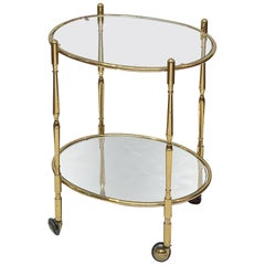 French Oval Drinks Cart of Brass, Glass, and Mirrored Glass
