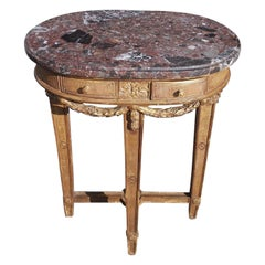 French Oval Giltwood Marble Side Table with Floral Medallion & Swags, circa 1780