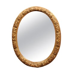 French Oval Giltwood Mirror, Early 18th Century