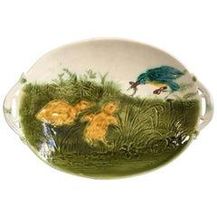 French Oval Majolica Ducklings Platter Sarreguemines, circa 1890