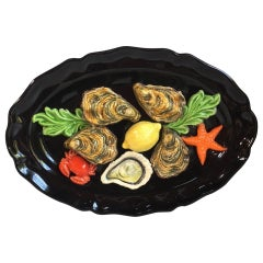 French Oval Majolica Palissy Oysters Wall Platter Vallauris, circa 1950