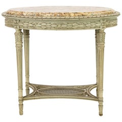 French Oval Marble-Top Center Table
