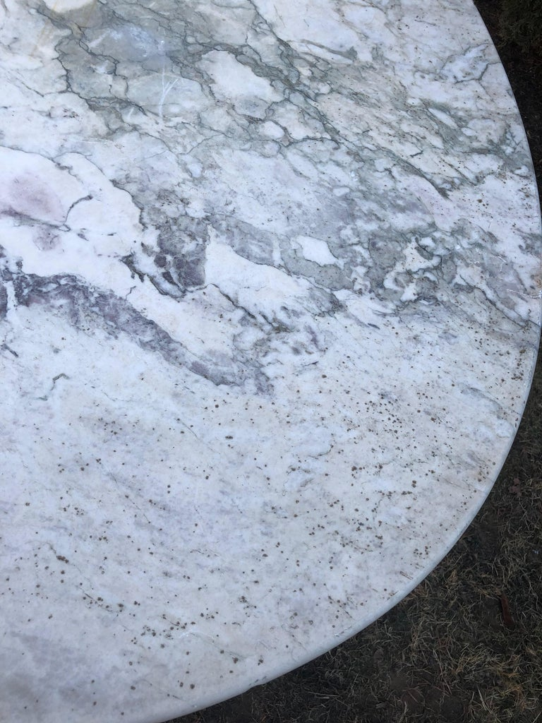 French Oval Marble Topped Dining Table With Cast Iron Base