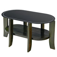 French Oval Shaped Coffee Table in Bicolored Wood