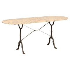 French Oval-Shaped Marble Top Console Table with Metal Base