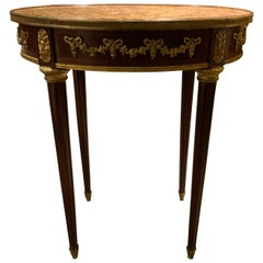 French Oval Side Table with Gilt Bronze Mounts and Marble Top, Louis XVI Style