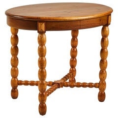 French Oval Side Table with Spindle Legs
