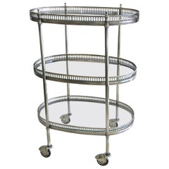 French Oval Silver Plated 3-Tier Bar Cart or Side Table