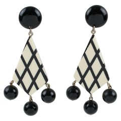 French Oversized Black & White Lucite Pierced Earrings with Dangling Charms