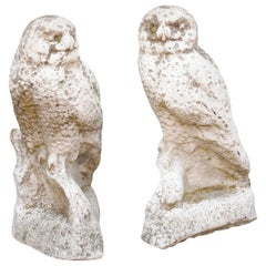 French Owl Composition Sculpture, circa 1950 with Weathered Appearance