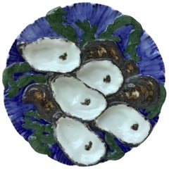 French Oyster Plate Porcelain with Turkey Pattern Haviland Limoges