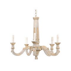 French Painted and Carved Wood Chandelier with Floral Carved Column