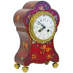 French Painted and Flower Decorated Bronze Mounted Mantel Clock, 19th Century