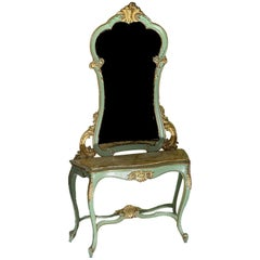 French Painted and Gilded Wood Console Table with an Associated Mirror