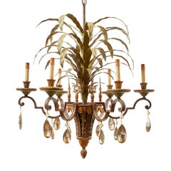 French Painted and Gilt Metal Leaf Form Six-Light Chandelier, circa 1940