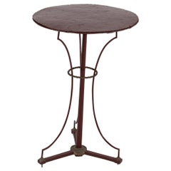 French Painted Brass/Bronze & Iron Chess Bistro Table