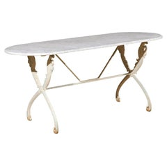 French Painted Cast Iron Table with Oval Carrara Marble Top and Swan Motifs