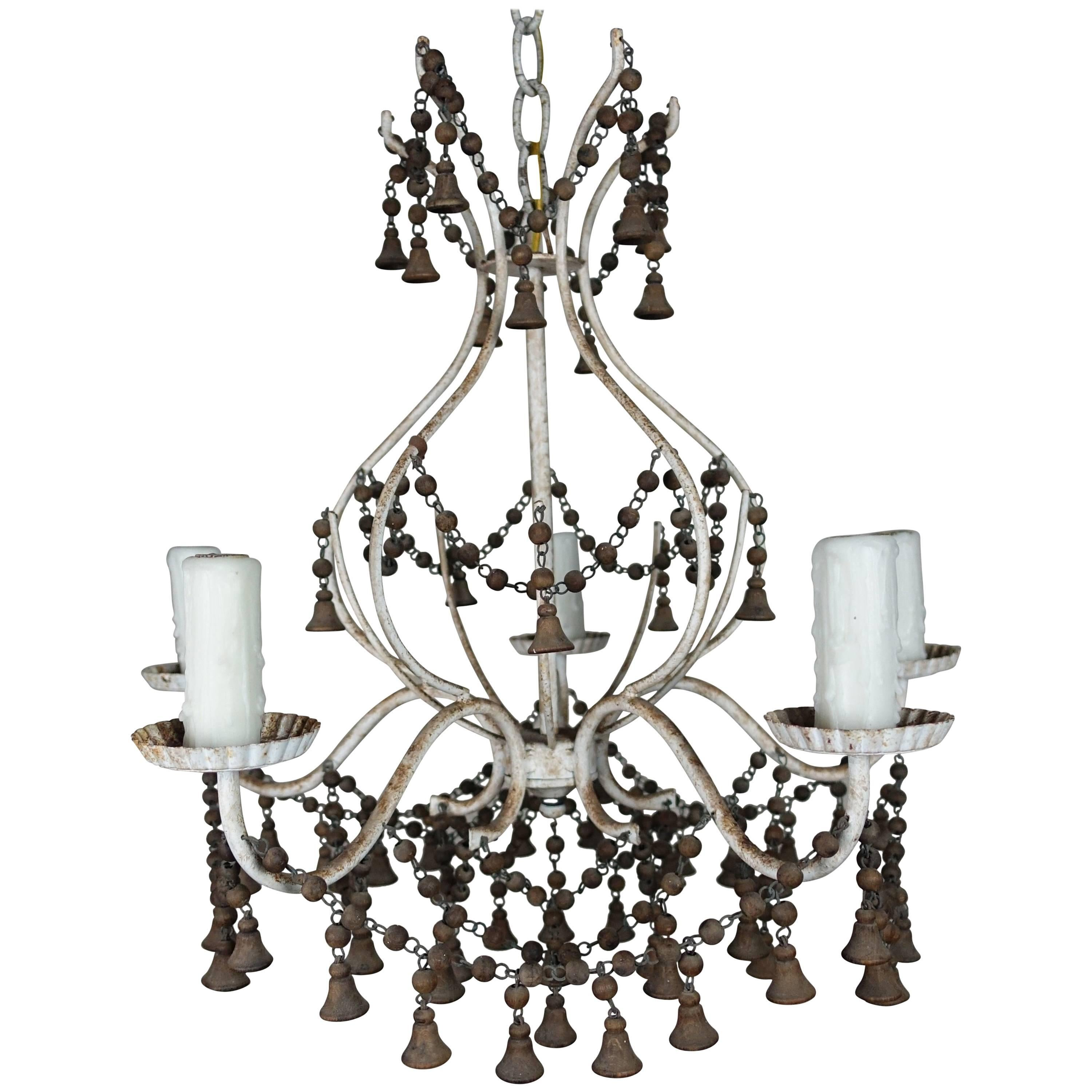French Painted Chandelier with Wood Drops, circa 1920