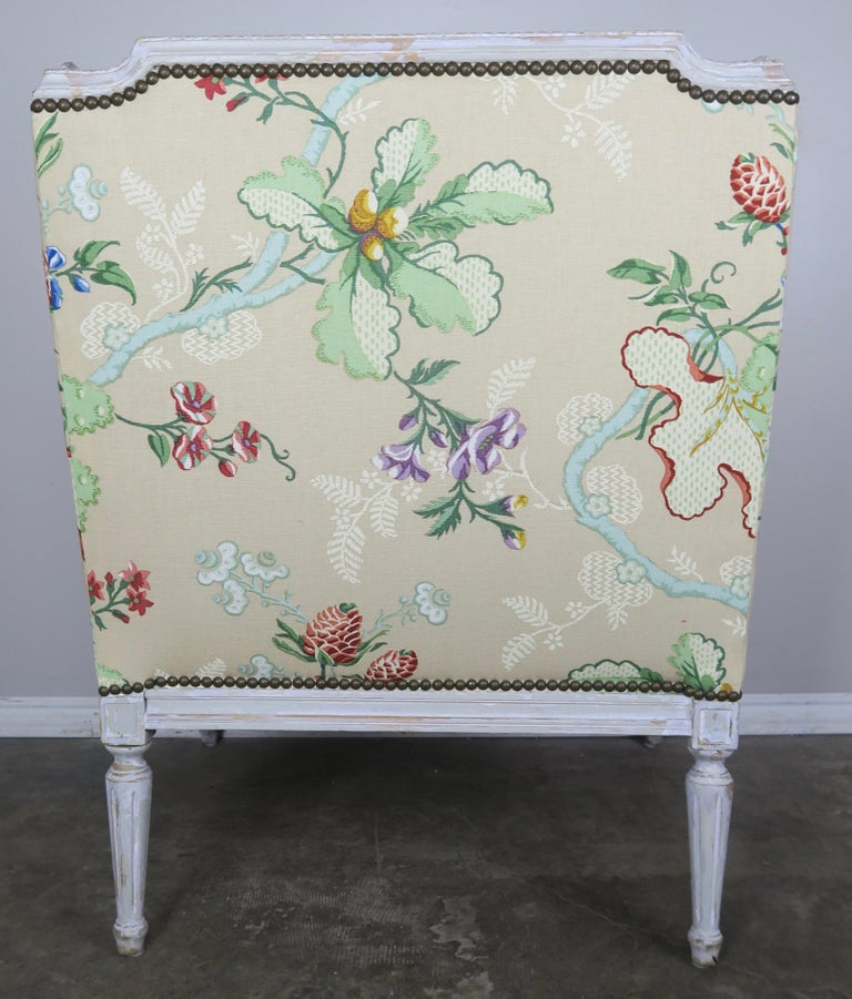 French Painted Brunschwig & Fils Upholstered Wingback Armchairs For Sale 3