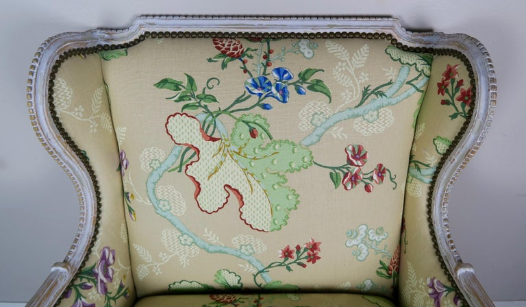 French Painted Brunschwig & Fils Upholstered Wingback Armchairs For Sale 4