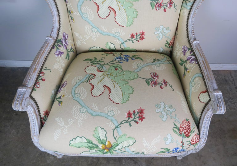 French Painted Brunschwig & Fils Upholstered Wingback Armchairs For Sale 5
