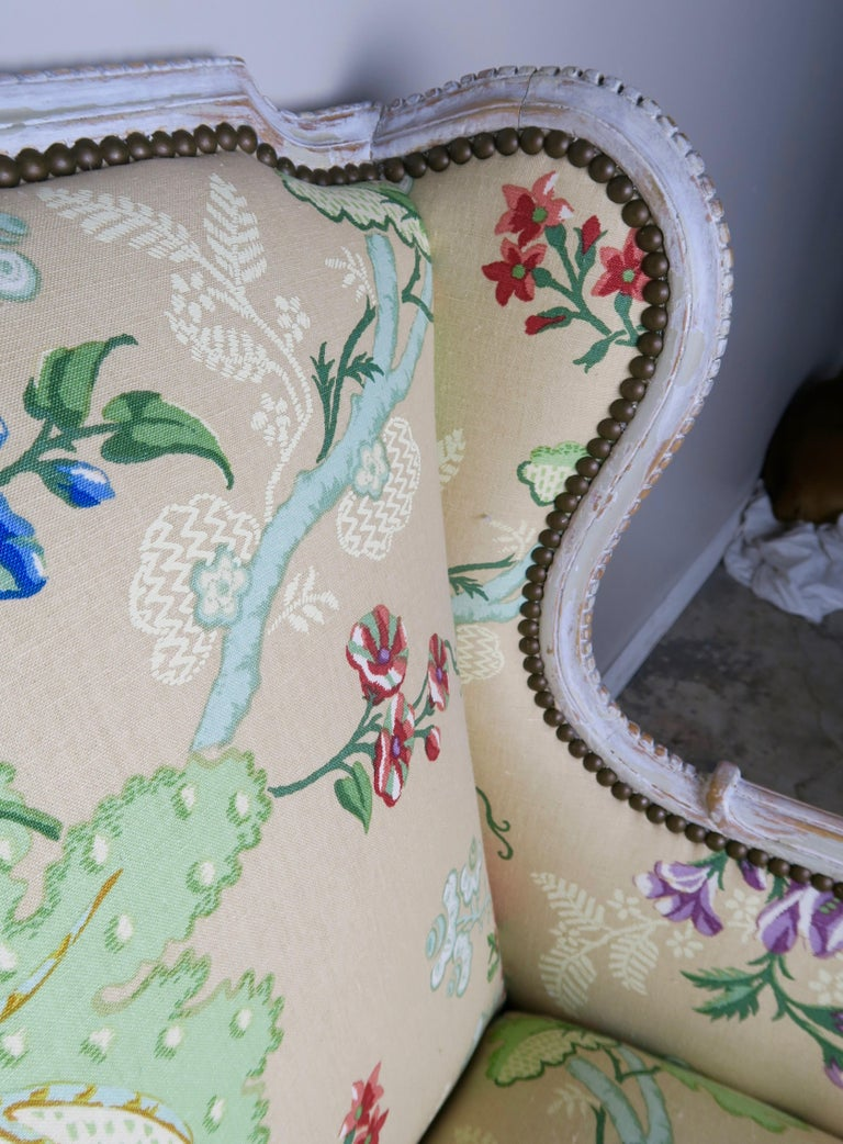 French Painted Brunschwig & Fils Upholstered Wingback Armchairs For Sale 6