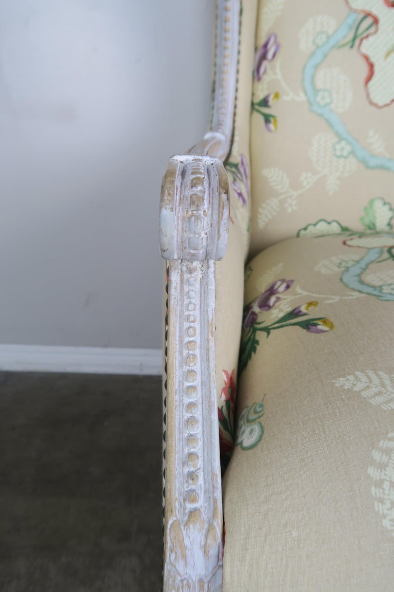 French Painted Brunschwig & Fils Upholstered Wingback Armchairs For Sale 10