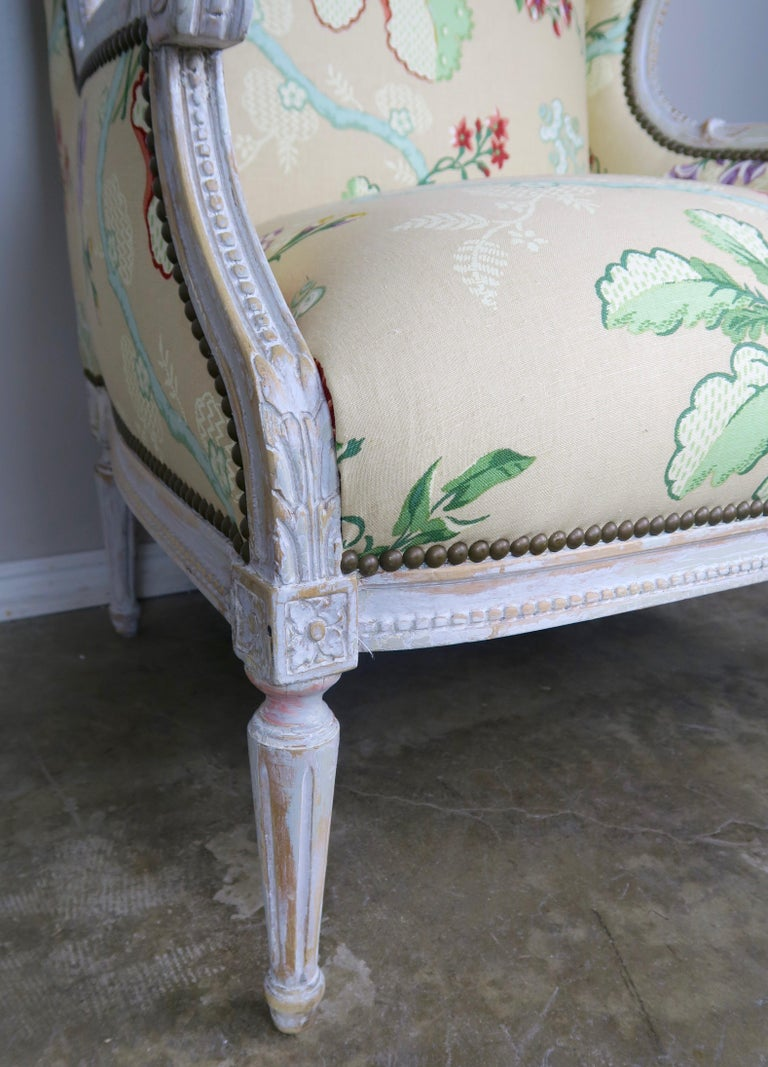French Painted Brunschwig & Fils Upholstered Wingback Armchairs For Sale 12