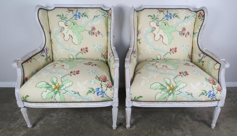 Louis XVI French Painted Brunschwig & Fils Upholstered Wingback Armchairs For Sale