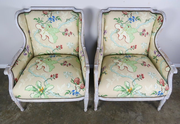 Hand-Painted French Painted Brunschwig & Fils Upholstered Wingback Armchairs For Sale