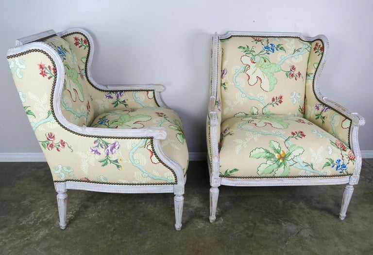 French Painted Brunschwig & Fils Upholstered Wingback Armchairs In Distressed Condition For Sale In Los Angeles, CA