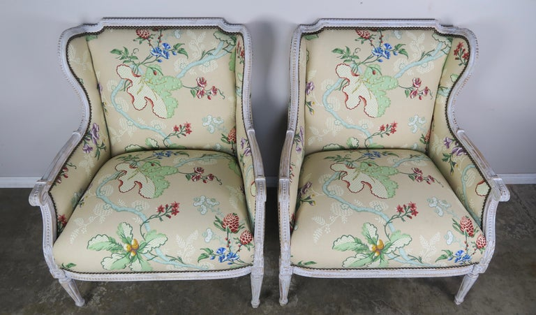 20th Century French Painted Brunschwig & Fils Upholstered Wingback Armchairs For Sale